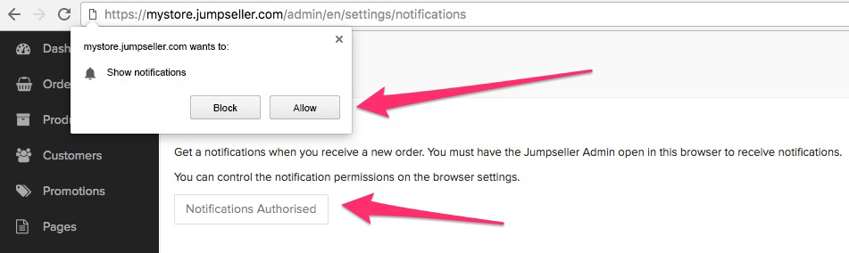 Enable Order Notifications